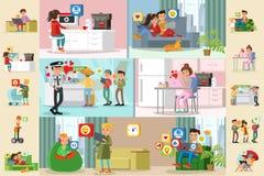 Les gens et les brochures horizontales de réseau social Photos stock