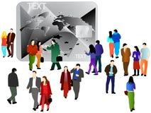 Les gens et la carte d'opérations bancaires Photo stock