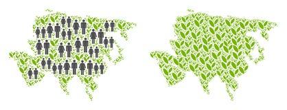 Les gens et la Flora Asia Map illustration de vecteur