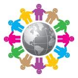 Les gens et le globe Photos libres de droits