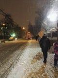 Les gens et les chutes de neige Image libre de droits