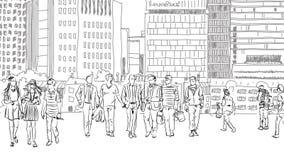 Les gens et les touristes sur les rues de Londres, croquis illustration de vecteur