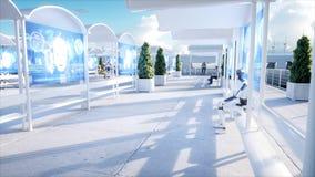 Les gens et les robots Station de Sci fi Transport futuriste de monorail Concept d'avenir rendu 3d illustration libre de droits