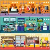 Les gens faisant des emplettes dans un concept de mail Intérieur de magasin d'électronique grand public Illustration colorée de v illustration stock