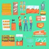 Les gens faisant des emplettes pour des épiceries dans le supermarché entouré par des attributs de boutique réglés des illustrati illustration de vecteur