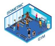 Les gens faisant l'exercice dans le gymnase, illustration isométrique illustration de vecteur