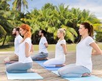 Les gens faisant le yoga dans la pose de héros dehors Images stock