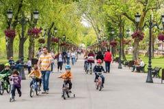 Les gens faisant un tour la journée de printemps chaude en parc public de Mogosoaia Image libre de droits