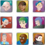 Les gens font face à des avatars de graphismes Image stock