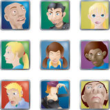 Les gens font face à des avatars de graphismes Photo libre de droits