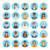 Les gens font face aux icônes plates de vecteur d'avatars Image libre de droits