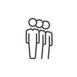 Les gens font la queue la ligne icône, signe de vecteur d'ensemble, pictogramme linéaire de style d'isolement sur le blanc Symbol illustration stock