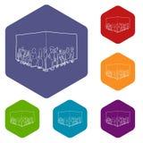 Les gens font la queue le hexahedron de vecteur d'icônes illustration stock