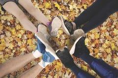 Les gens font le cercle de pied sur des feuilles d'automne Image libre de droits