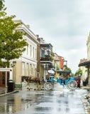 Les gens font un voyage de car de cheval dans le vieux quartier français Images stock