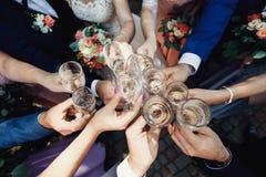 Les gens grillant avec des verres de vin blanc Images stock