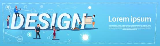 Les gens groupent avec des concepteurs Team Design Concept d'instruments Image libre de droits