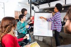 Les gens groupent discuter le nouveau tableau blanc de femme de projet images libres de droits