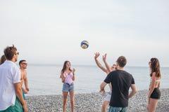 Les gens groupent ont l'amusement et jouent au volleyball de plage au jour d'été images libres de droits