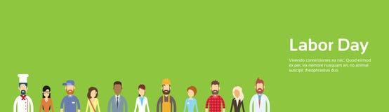 Les gens groupent, profession différente, Fête du travail peuvent bannière de vacances avec l'espace de copie illustration de vecteur