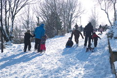 Les gens jouant dans la neige Image libre de droits