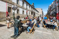 Les gens jouant des échecs à Vigo, Espagne Photographie stock libre de droits