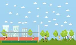 Les gens jouant le tennis et le badminton en parc Bannières de sport de vecteur Joueurs professionnels sur la cour illustration de vecteur