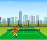 Les gens jouent le tennis extérieur illustration libre de droits