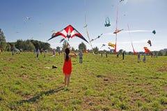 Les gens lancent le cerf-volant de coccinelle dans le ciel au festival de cerf-volant en parc Tsaritsyno à Moscou Images stock