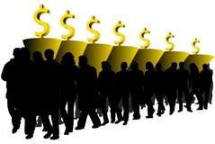 Les gens, le graphique et le dollar Photographie stock