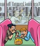 Les gens mangeant des gaufres Photo libre de droits