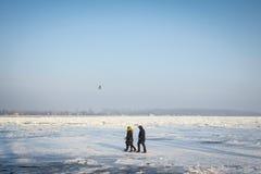 Les gens marchant à côté du Danube congelé à Belgrade, Serbie, due à un temps particulièrement froid Photo libre de droits