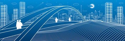 Les gens marchant au pont piétonnier Horizon de ville Ville moderne de nuit Illustration d'infrastructure, scène urbaine Lignes b illustration de vecteur