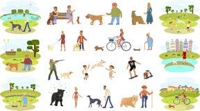 Les gens marchant avec des chiens illustration stock
