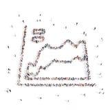 Les gens marchant dans le graphique de commerce illustration 3D Illustration Stock