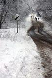 Les gens marchant par la neige de régfion boisée Photographie stock