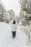 Les gens marchant sur la neige image stock