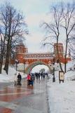 Les gens marchent en parc de Tsaritsyno à Moscou en hiver Photographie stock libre de droits