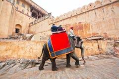 Les gens montent le grand éléphant pour le voyage au fort indien historique Photos libres de droits