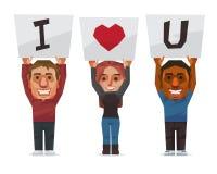 Les gens montrent le signe je t'aime du mot Image libre de droits