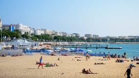 Les gens nageant à la plage image libre de droits