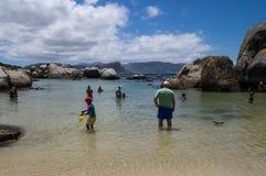 Les gens nageant avec des pingouins aux rochers échouent images libres de droits