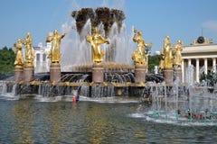 Les gens nagent dans la fontaine d'amitié de peuples au parc de VDNKH à Moscou Image stock
