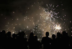 Les gens observant des feux d'artifice Photographie stock libre de droits
