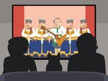 Les gens observant la bande dessinée russe folklorique de vecteur d'exposition de TV Photo stock