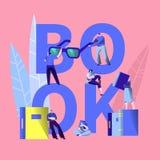 Les gens ont lu la bannière de typographie de concept d'éducation de livre Étudiant Character Learning Encyclopedia dans la bibli photos stock