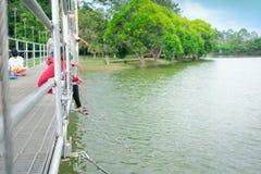 Les gens ont plaisir à alimenter des poissons sur le pont suspendu avec le fond de nature photos libres de droits