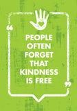 Les gens oublient souvent que la gentillesse est gratuite Citation créative de motivation d'inspiration de charité Bannière de ty illustration libre de droits