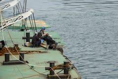 Les gens pêchant sur les docks Images stock