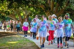 Les gens participant à la course d'amusement de frénésie de couleur photo libre de droits